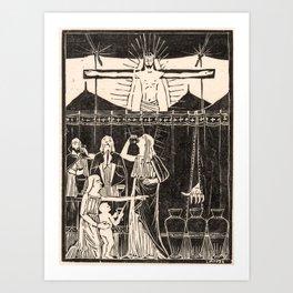 Drinking people under crucified Christ, Mathieu Lauweriks, 1935 Art Print