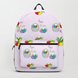 happy easter basket and eggs Backpack