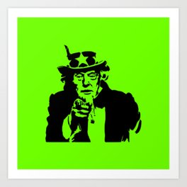 Neon Green Uncle Trump Needs You Art Print