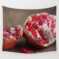 pomegranate Wall Tapestries featuring pomegranate by Life Through the Lens