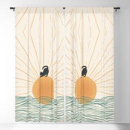 Good Morning Meow 7 Sunny Day Ocean  Blackout Curtain