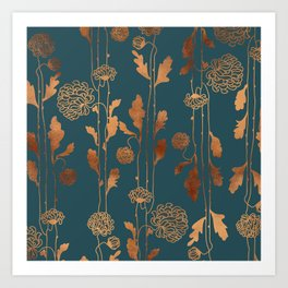 Art Deco Copper Flowers  Art Print