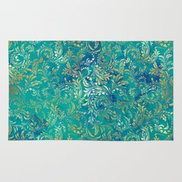 Blue Gold Swirls Rug