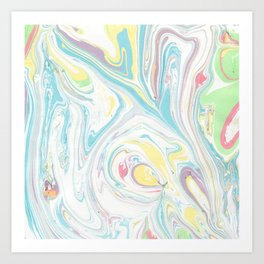Hand painted abstract green yellow pink teal watercolor marble Art Print