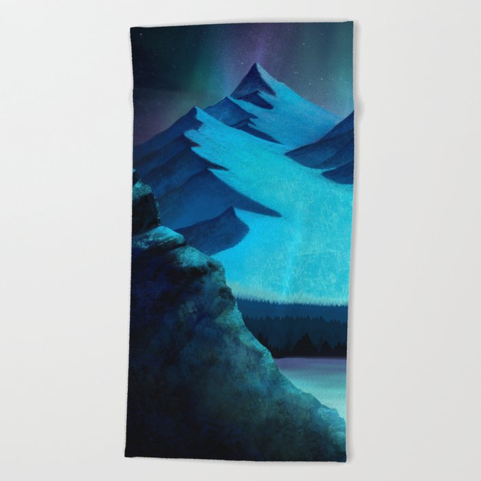 Aurora Borealis In The Mountain Pass Beach Towel