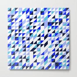 Blue Triangle Pattern Metal Print