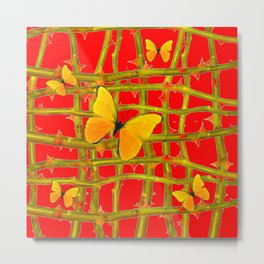YELLOW BUTTERFLIES & RED THORN LATTICE Metal Print