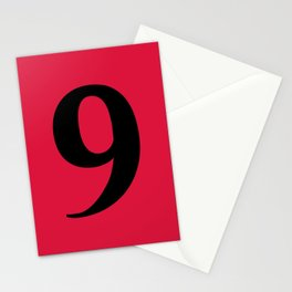 9 (BLACK & CRIMSON NUMBERS) Stationery Cards