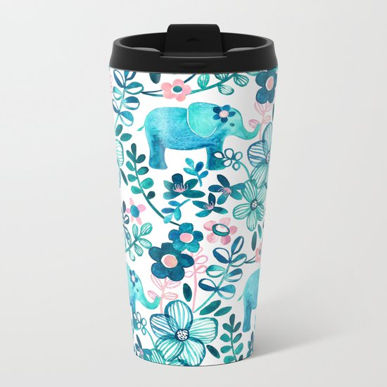 Dusty Pink, White and Teal Elephant and Floral Watercolor Pattern Metal Travel Mug
