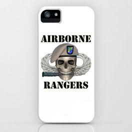 Airborne Rangers - Skull With Ranger Beret in front of Jump Wings iPhone Case