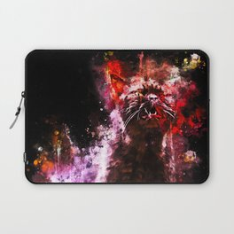 british shorthair cat ready to attack splatter watercolor Laptop Sleeve