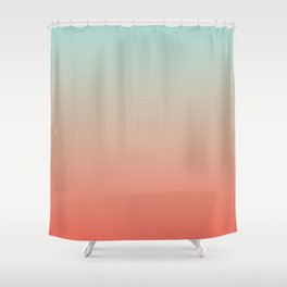 Ombre Living Coral with Turquoise Shower Curtain