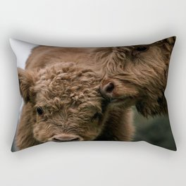 Scottish Highland Cattle Calves - Babies playing Rectangular Pillow