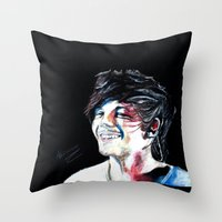 louis tomlinson Throw Pillows featuring Louis Tomlinson by Mimirainb0w