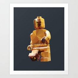 Golden LegoMinifigure Polygon Art Art Print
