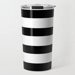 Black and White Horizontal Stripes Travel Mug