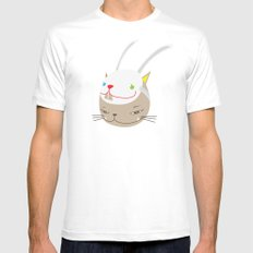 CAT WITH RABBITZ MASK Mens Fitted Tee White MEDIUM