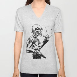 Military zombie - Skull military - zombie illustration Unisex V-Neck