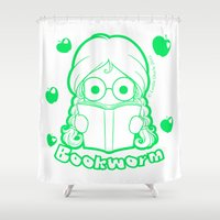 bookworm Shower Curtains featuring Kawaii Kiddies Cute Bookworm by Leslie Doyle