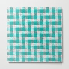 LIght Sea Green Buffalo Plaid Metal Print