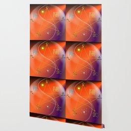 Feng Shui five elements Orange Purple Wallpaper