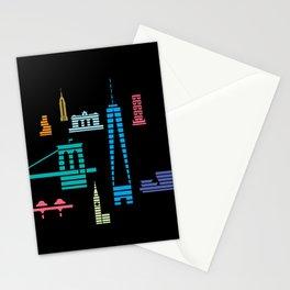 New York Skyline One WTC Poster Black Stationery Cards