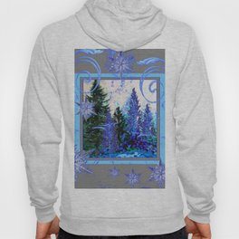 ORNATE BLUE-GREY WINTER SNOWFLAKES FOREST ART Hoody
