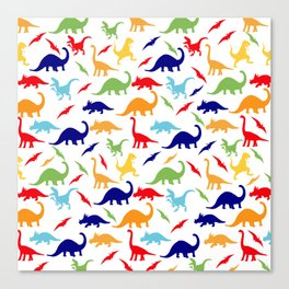 Colorful Dinosaurs Pattern Canvas Print