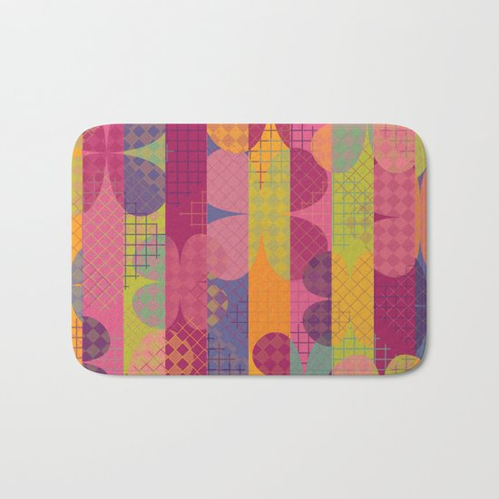 Abstract Colorful Floral Pattern Bath Mat