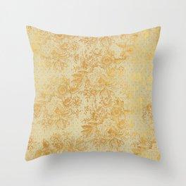 golden vintage damask floral pattern Throw Pillow