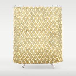 Mermaid Tail Pattern     Gold Glitter Shower Curtain