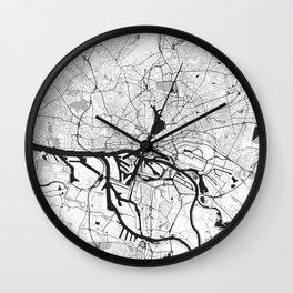 Hamburg City Map Gray Wall Clock
