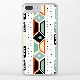 Abstract geometrical black orange ivory green squares polka dots Clear iPhone Case
