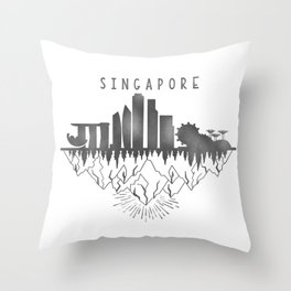 Singapore skyline // urban jungle // black & white // minimalist Throw Pillow