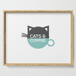 Cats and coffee Serving Tray