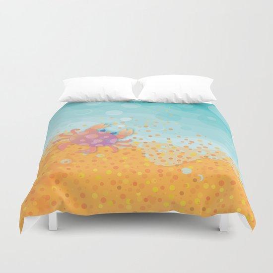 Cute Crab, Aqua Ocean, California Sunshine Duvet Cover