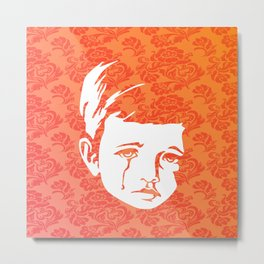 Faces - crying gypsy boy on a red and orange floral background Metal Print