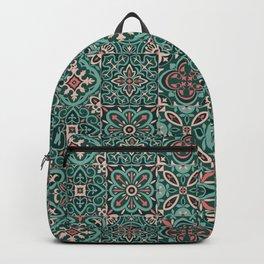 Peranakan Art Nouveau Tiles (Mixed Patterns in Peach Garden) Backpack
