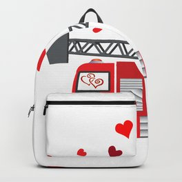 Valentine's Day Firetruck Hearts Gift Kids Boys Backpack