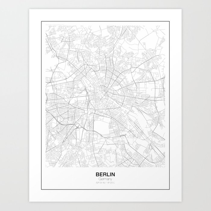 Berlin Germany Minimalist Map Art Print By Resfeber Society6