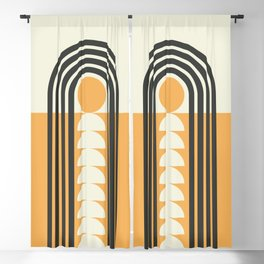 Geometric Lines in Gold and Black (Rainbow and Sunrise Abstract) Blackout Curtain