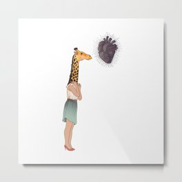 Giraffe Girl Metal Print