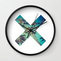palm trees Wall Clocks featuring Palm Trees by Zavu