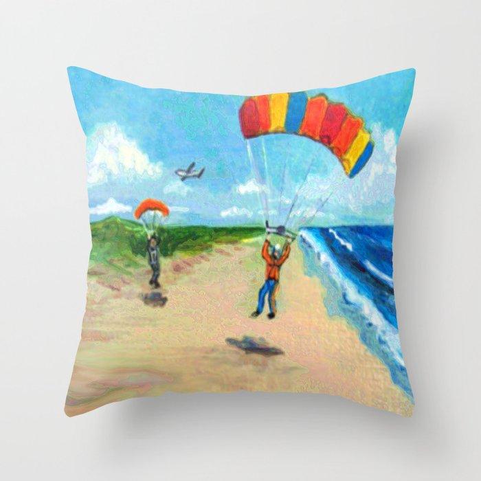 Skydive Beach Landing Throw Pillow