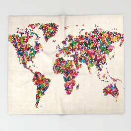 Butterflies Map of the World Map Throw Blanket