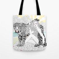 jaguar Tote Bags featuring Jaguar by Hue Huynh