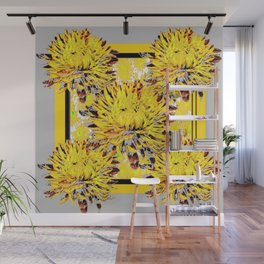 Abstracted Grey-Yellow Chrysanthemums Floral Wall Mural
