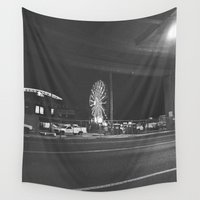 ferris wheel Wall Tapestries featuring Fading Ferris Wheel by Jane Lacey Smith
