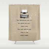 typewriter Shower Curtains featuring Typewriter by Word Quirk