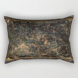 Vintage Montana Railroad Blueprint Rectangular Pillow
